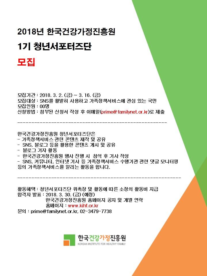 2018년 청년서포터즈단 모집 안내