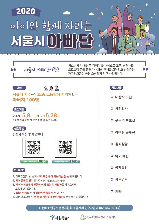 2020년 아이와 함께 자라는 서울시 아빠단 모집